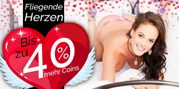 die brünette Pearlin präsentiert dir die fliegenden Herzen, bis zu 40% mehr Coins